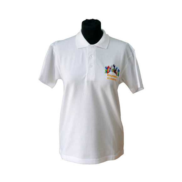 White Polo Shirt with Magdalen embroidery