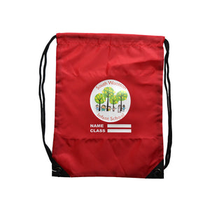 Red PE Bag with South Wootton Infant print