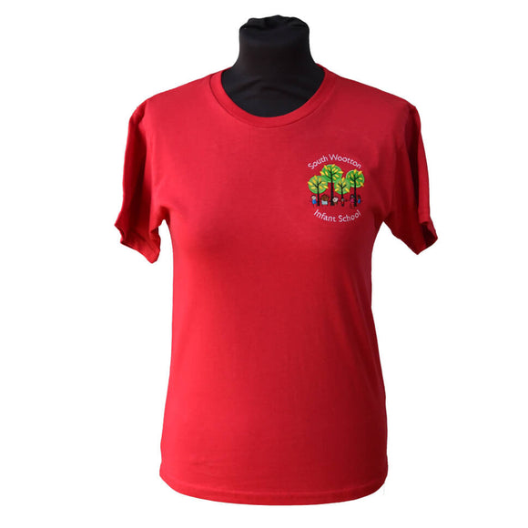 Red T-shirt with South Wootton Infants embroidery