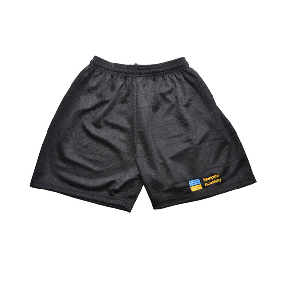 Black Mesh Shorts with Eastgate embroidery