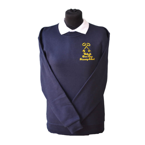 Navy Sweatshirt with Walpole Cross Keys embroidery