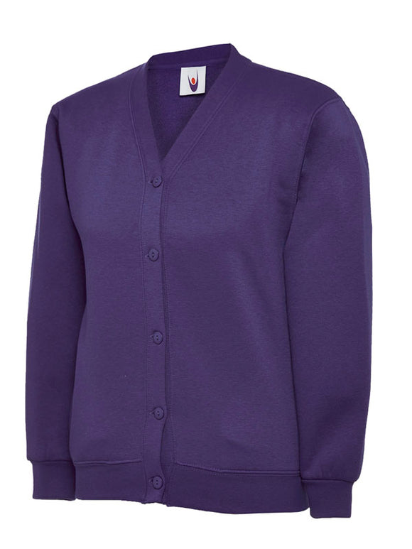 Purple Cardigan with South Wootton Pre School embroidery