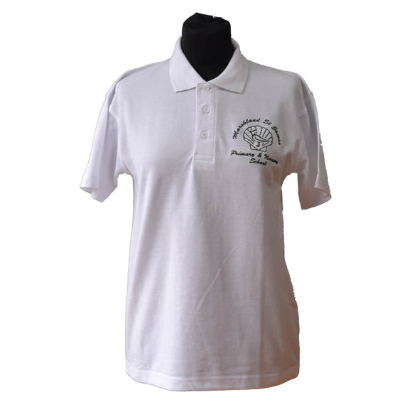 White Polo Shirt with Marshland embroidery