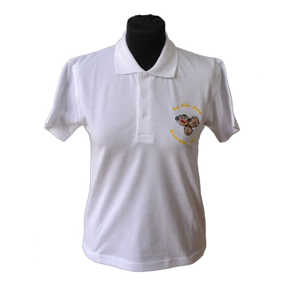 White Polo Shirt with Ten Mile Bank embroidery
