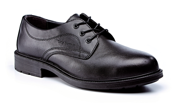 Black Leather Plain Front Shoe S1P SRC