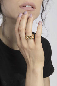 "Ring ""Tank chain bold"" gold"