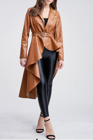 Sally Faux Leather High Low Jacket