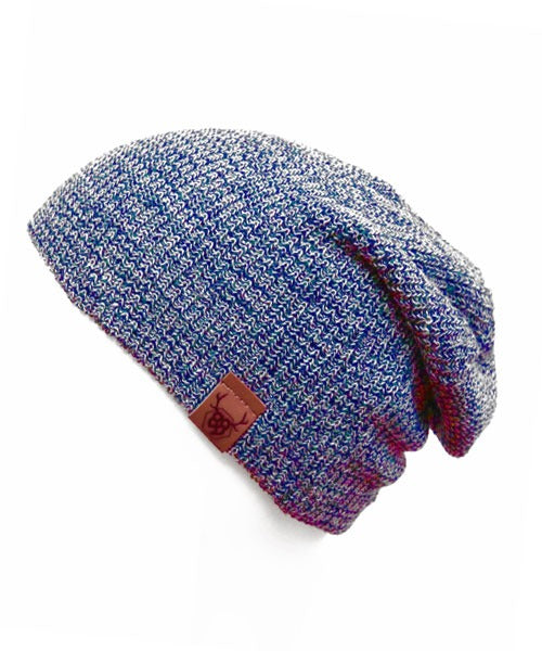 Oovy - Navy Acid Wash Slouch Beanie