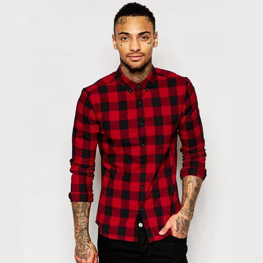Skinny Shirt in Burgundy Buffalo Plaid with Long Sleeves