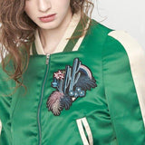 Green Embroidered Bomber Jacket