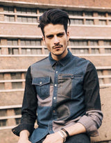 Contrast Cut And Sew Denim Shirt