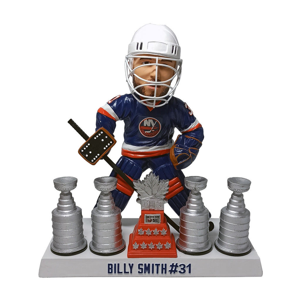 Billy Smith with 4 Stanley Cups and the Conn Smythe Trophy Bobblehead