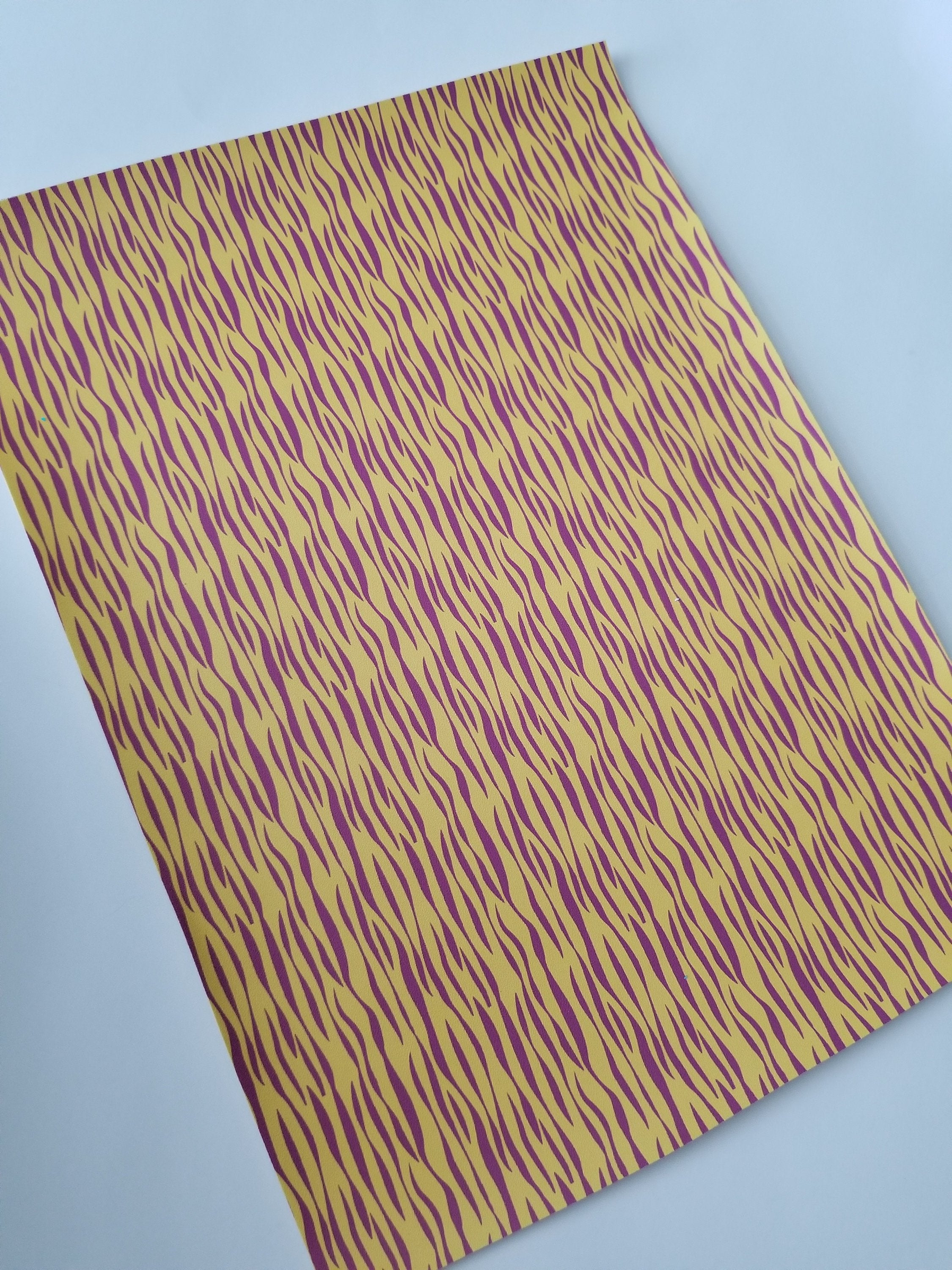 LSU TIGER STRIPES custom faux leather sheets, 8x11 faux leather, tiger  print fabric, yellow purple tiger faux leather, material for earrings