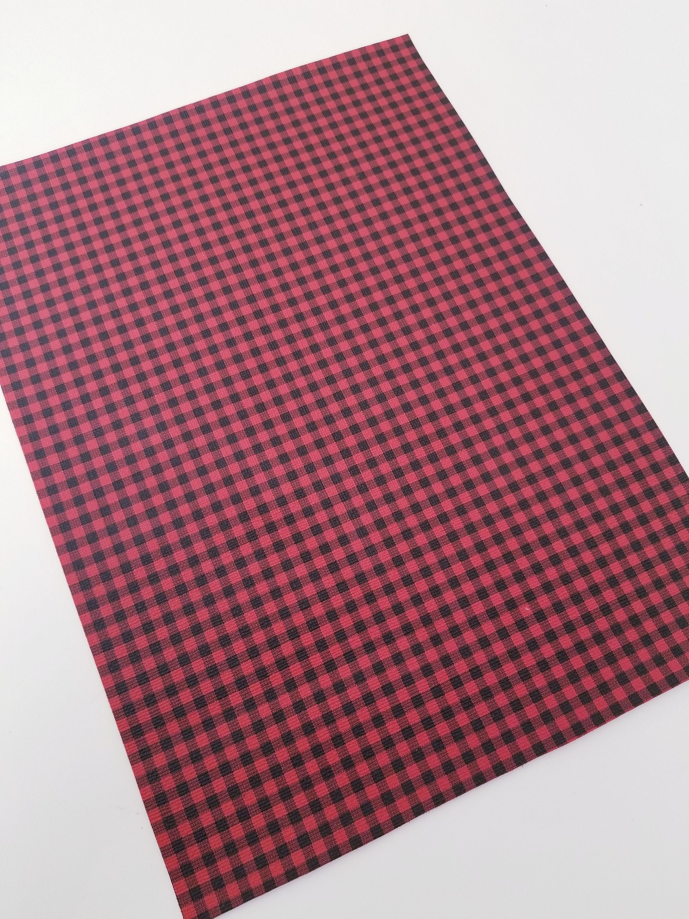 faux leather sheet,8x11 faux leather vegan leather faux leather Regular BUFFALO PLAID Red /& black faux leather faux leather fabric