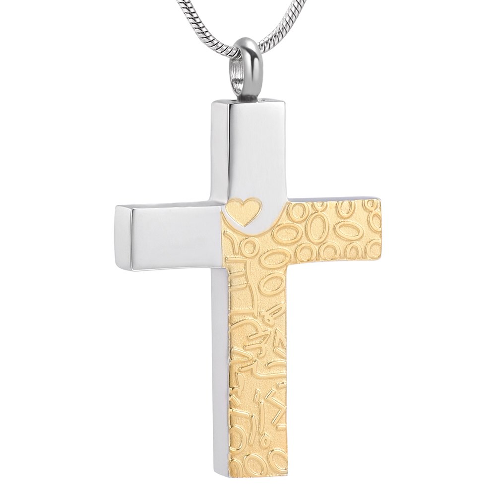 Two Tone Cross Cremation Necklace