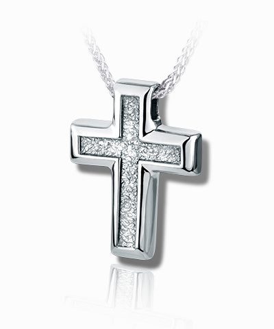 Small Sand Textured Cross Sterling Silver Cremation Necklace