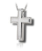 Large Sand Textured Cross Sterling Silver Cremation Necklace