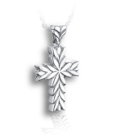 Starburst Cross Sterling Silver Cremation Necklace