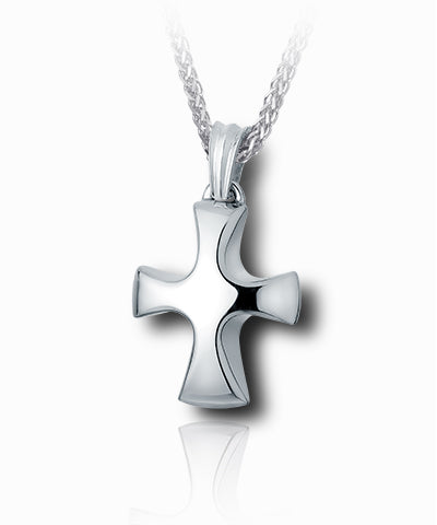 Tribal Cross Sterling Silver Cremation Necklace