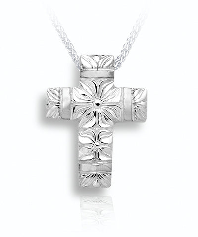 Flowers and Band Cross Sterling Silver Cremation Necklace