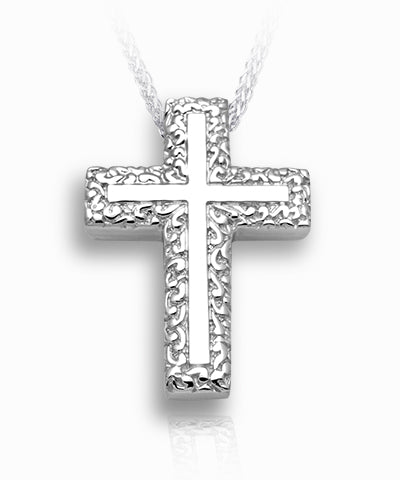 Swirl Border Cross Sterling Silver Cremation Necklace