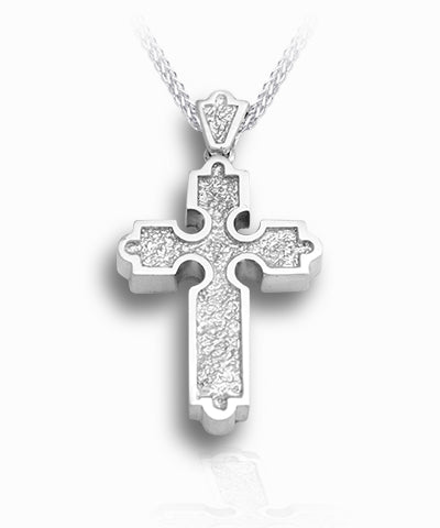 Roman Cross Sterling Silver Cremation Necklace