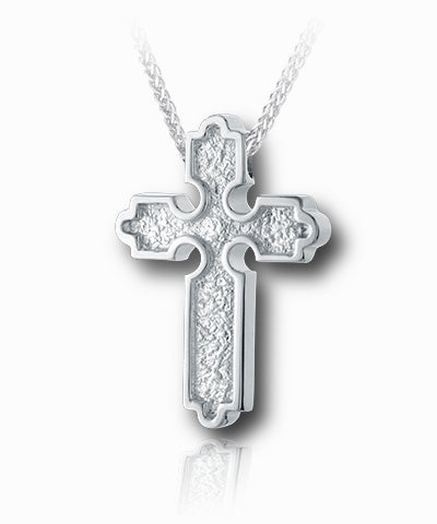 Roman Slider Cross Sterling Silver Cremation Necklace