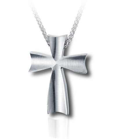 Satin Finish Cross Sterling Silver Cremation Necklace