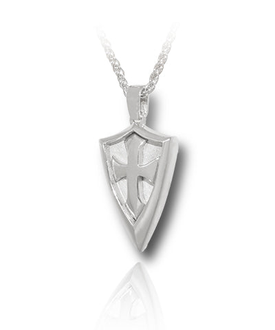 Defender Shield Cross Sterling Silver Cremation Necklace
