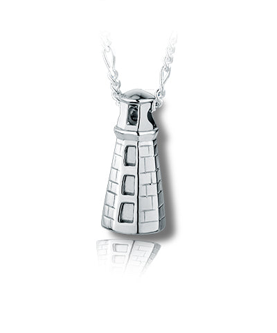 Maine Lighthouse Sterling Silver Cremation Necklace