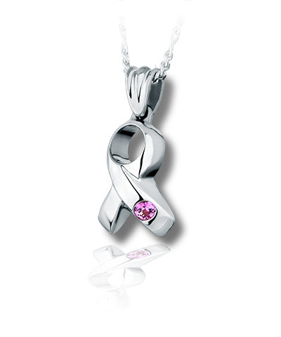 Ribbon Sterling Silver Cremation Necklace