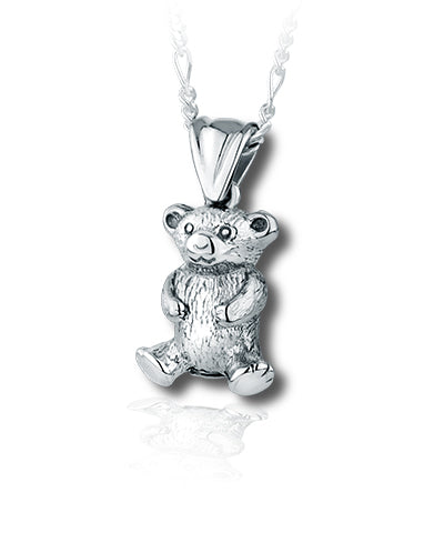 Teddy Bear Sterling Silver Cremation Necklace