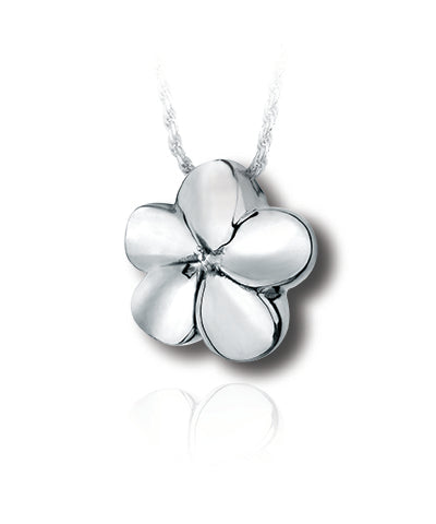 Plumeria Flower Sterling Silver Cremation Necklace