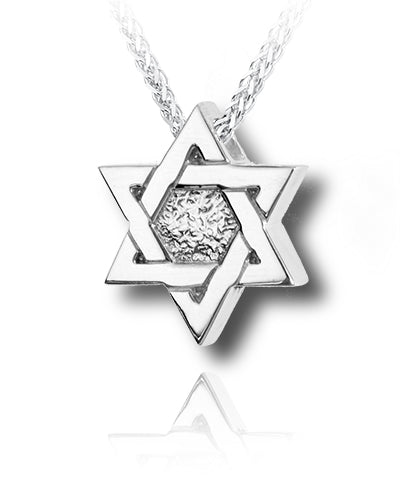 Star of David Sterling Silver Cremation Necklace