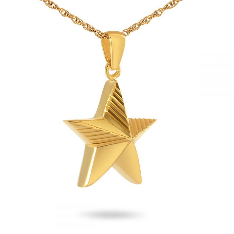 Military Service Solid Gold Cremation Necklace