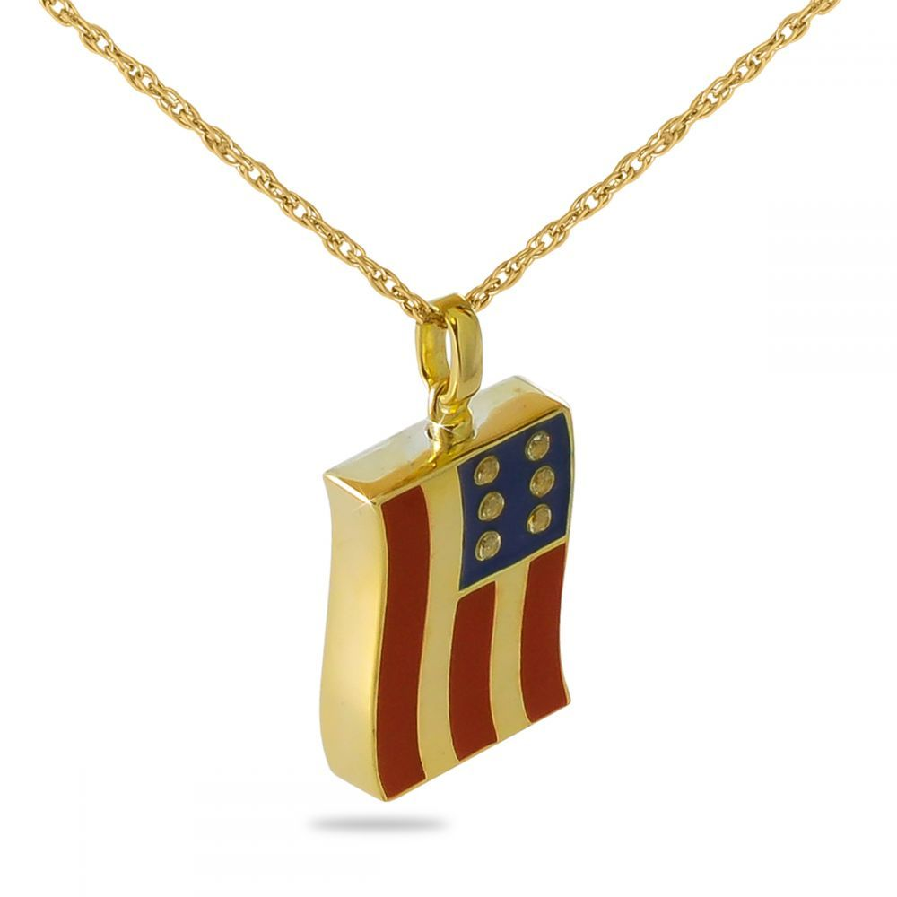Solid Gold American Flag Cremation Necklace