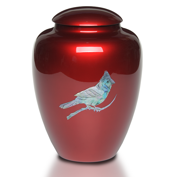 Red Cardinal Mother of Pearl Urn
