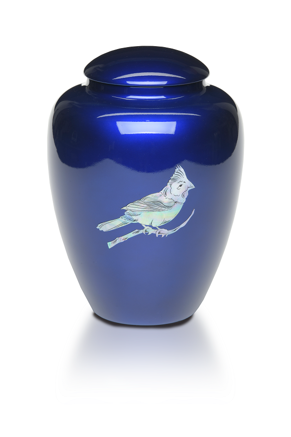 Cobalt Blue Cardinal Resin Urn