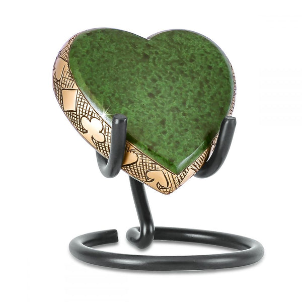Eternal Poker Player Brass Keepsake Heart Urn