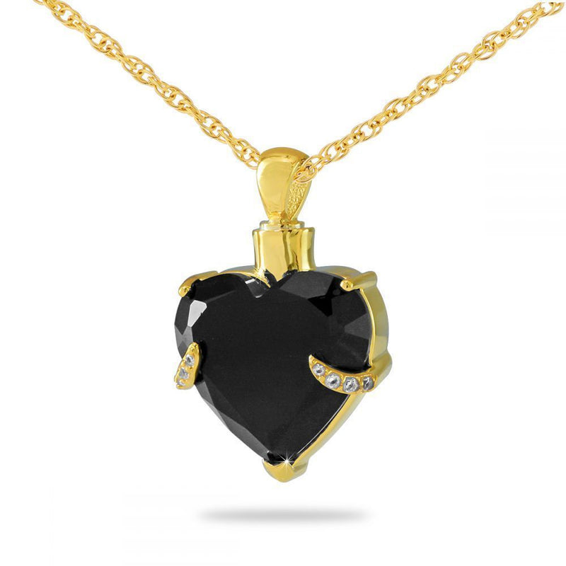 Black Heart Gold Cremation Necklace