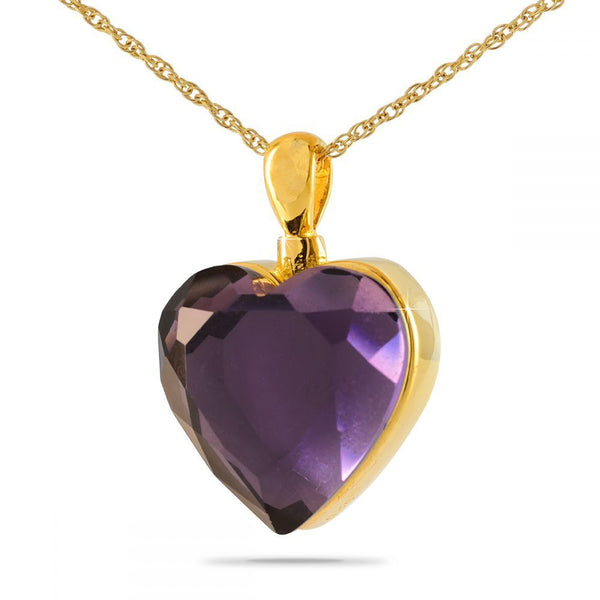 Deep Purple Heart Gold Cremation Necklace
