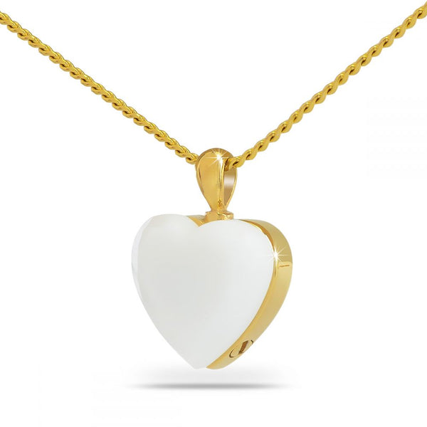 Mother of Pearl Heart Gold Cremation Necklace