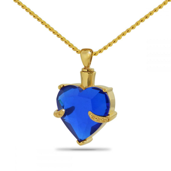 Blue Heart Gold Cremation Necklace