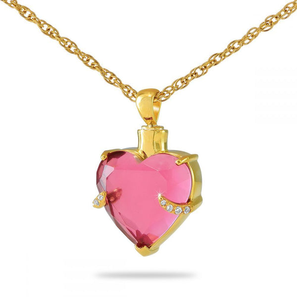Pink Heart Gold Cremation Necklace