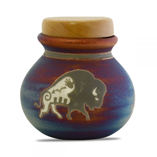 Strong bison keepsake raku urn