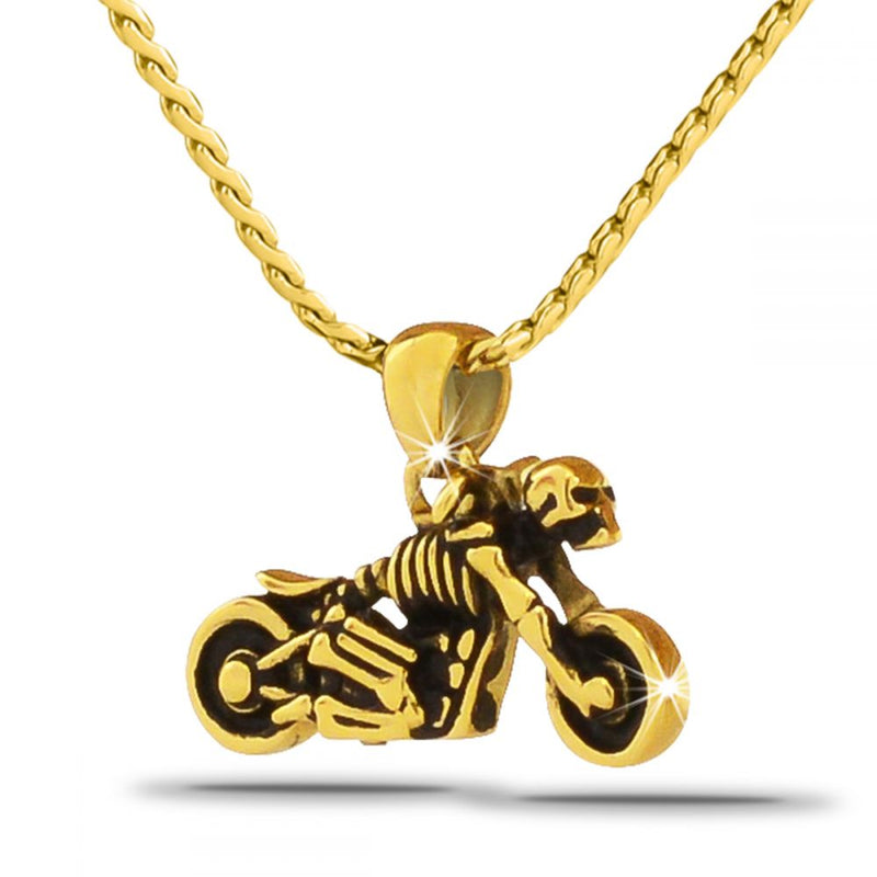 Gold Motorcycle Urn Necklace
