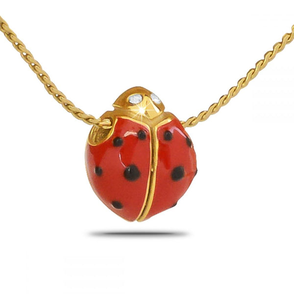 Gold Ladybug Cremation Necklace