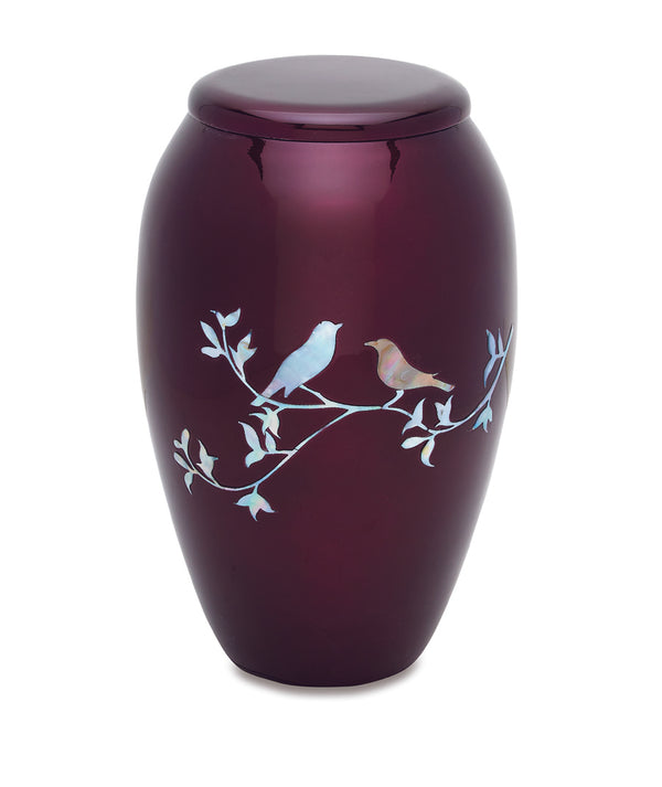 Purple Dove Mother of Pearl Urn