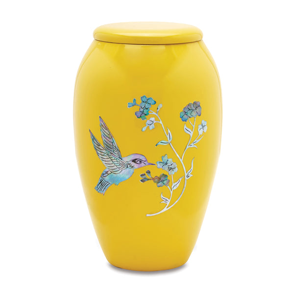 Yellow Hummingbird Mother of Pearl Urn