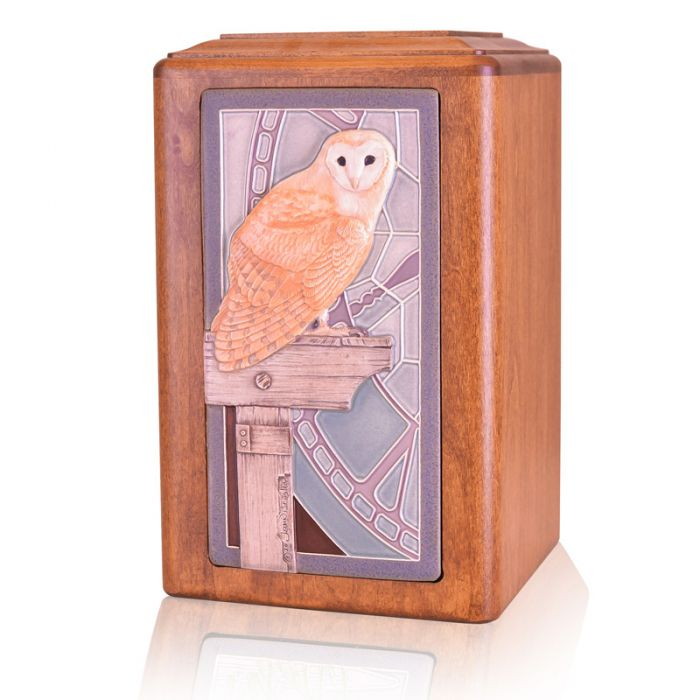 Raku Wood Night Owl Urn